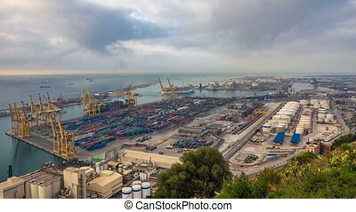 Panoramic view of the container port in Barcelona timelapse,...