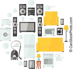Household appliances flat colourful icons drawn up into...