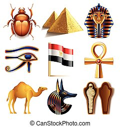 Egypt icons vector set - Egypt icons detailed photo...