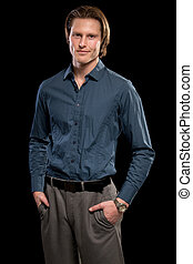 Man in Blue Shirt and Grey Slacks - Man in blue shirt and...