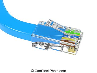wire rj-45 on a white background, isolated. 3D rendering.