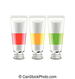 Oil paint tubes isolated on white vector - Oil paint tubes...