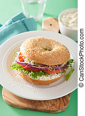 tomato sandwich on bagel with cream cheese onion lettuce...