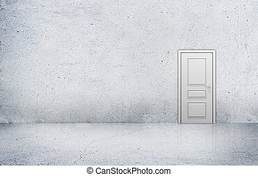 Concrete room with empty wall and wooden door