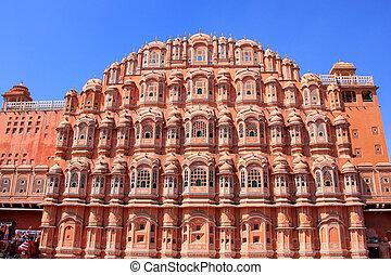 Hawa, MAHAL, -, palacio, de, el, Vientos, en, Jaipur,...