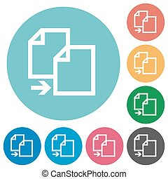 Flat copy icons - Flat copy icon set on round color...