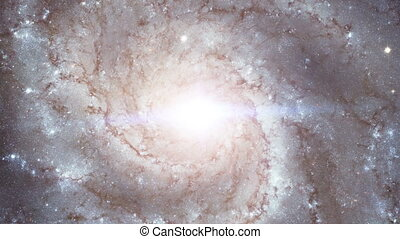 Galaxy rotation in space on top camera zoom