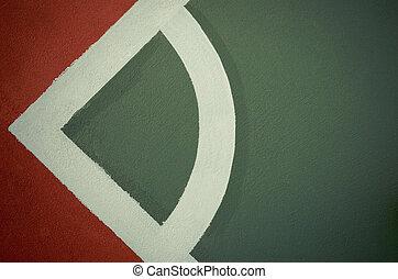 blanco, línea, en, nuevo, estadio, piso,