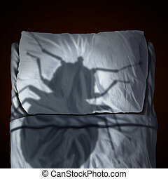 Bed Bug Fear - Bed bug fear or bedbug worry concept as a...