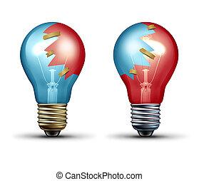 Idea Trade - Idea trade concept as two light bulbs or...