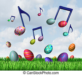 Easter Spring Music - Easter spring music symbol as a group...