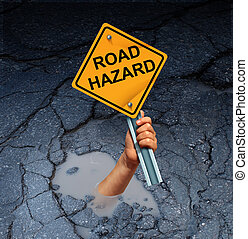 Road Hazard Concept - Road hazard concept as an accident...