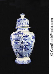 Antique Blue and White Urn - An antique blue and white...