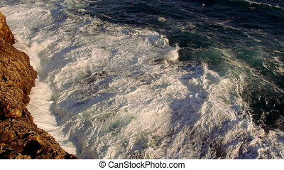 Huge strong breaking waves wild ocean water