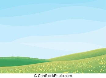 rural scene - Simple grass, clouds and blue sky vector...