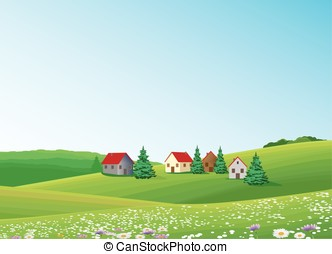 rural scene - Green landscape with tree lake road house and...