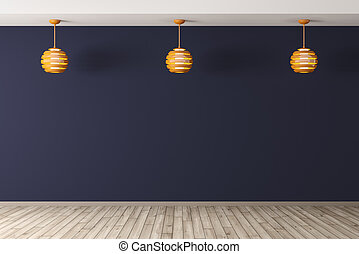 Interior backgroundwith three lamps 3d rendering - Interior...