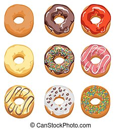 Set Multi-colored donuts - Set of multi-colored donuts with...