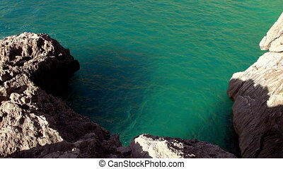 deep turquoise water in a bay