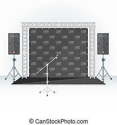 color press wall stage metal truss microphone speakers -...