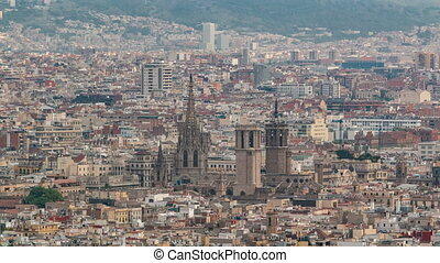 Top view of Barcelona Cathedral timelapse in Barcelona. -...