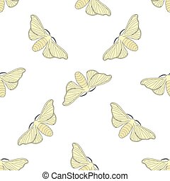 Seamless pattern with butterfly Bombyx mori. hand-drawn...