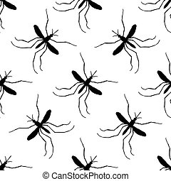 Seamless pattern with mosquito.Culex pipiens. hand-drawn...