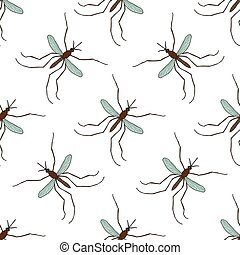Seamless pattern with mosquitoCulex pipiens hand-drawn...