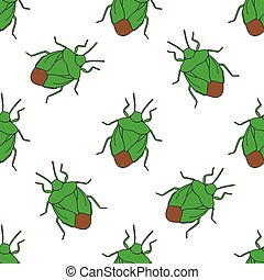 Seamless pattern with shield bug. Palomena prasina...