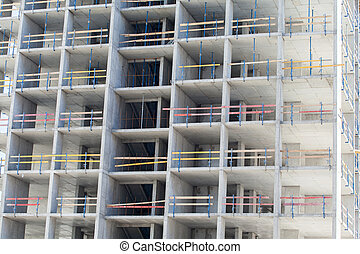 Construction of an apartment house - Monolithic frame...