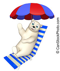 cute Polar bear cartoon character with beach chair - 3d...