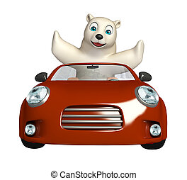 cute Polar bear cartoon character with car - 3d rendered...