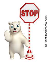 fun Polar bear cartoon character with stop sign - 3d...