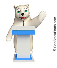 Polar bear cartoon character with speech stage - 3d rendered...