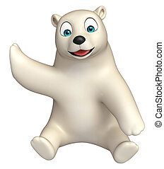 sitting Polar bear cartoon character - 3d rendered...