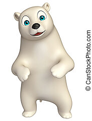 funny Polar bear cartoon character - 3d rendered...