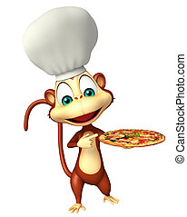 Monkey cartoon character with pizza and chef hat - 3d...