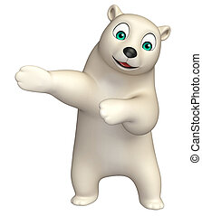 pointing Polar bear cartoon character - 3d rendered...