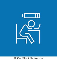 Bsinessman in low power line icon - Tired employee sleeping...