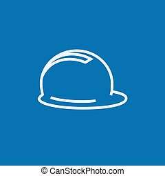 Hard hat line icon - Hard hat thick line icon with pointed...