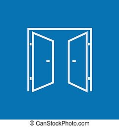 Open doors line icon - Open doors thick line icon with...