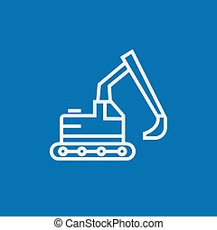 Excavator line icon - Excavator thick line icon with pointed...