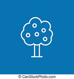 Fruit tree line icon - Fruit tree thick line icon with...