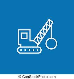 Demolition crane line icon. - Demolition trailer thick line...