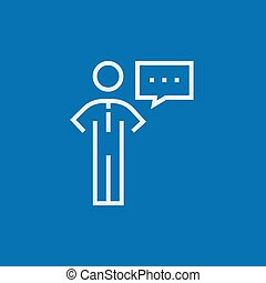 Businessman with a speech square line icon - Businessman...