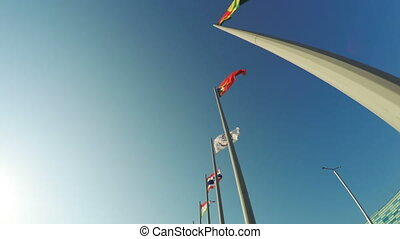 Flags of countries in Olympic Park - Camera on steadicam...