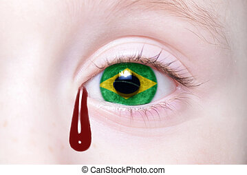human's eye with national flag of brazil with bloody...