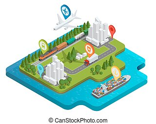 Global logistics network Flat 3d isometric vector illustration Air cargo trucking rail transportation maritime shipping On-time delivery Vehicles designed to carry large numbers cargo