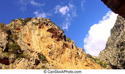 Colorful canyon in the mountains of Mallorca wild nature