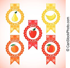 Cute labels for fruit jam Icons isolated on white background...